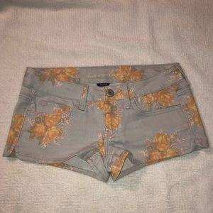 Vintage pastel floral denim stretch shorts